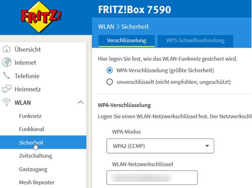 Fritz!Box WLAN Menü Sicherheit