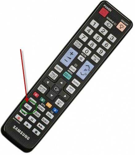 picture of samsung remote control with button for audio description