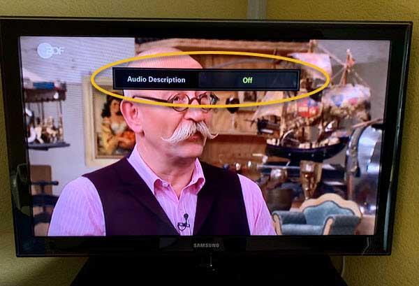 photo of samsung tv with audio description off