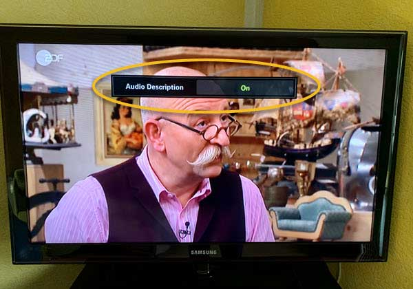 photo of samsung tv with audio description on