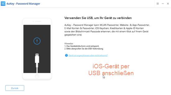 Screenshot 4uKey mit Aufforderung Gerät per USB anzuschließen