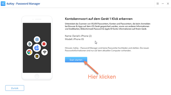 Screenshot 4uKey zum Scan starten