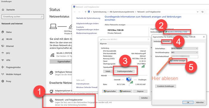 Screenshot Windows WLAN Schlüssel auslesen