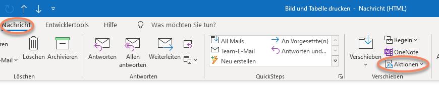 Outlook Screenshot Menü Nachricht in der Rubrik Verschieben auf Aktionen klicken