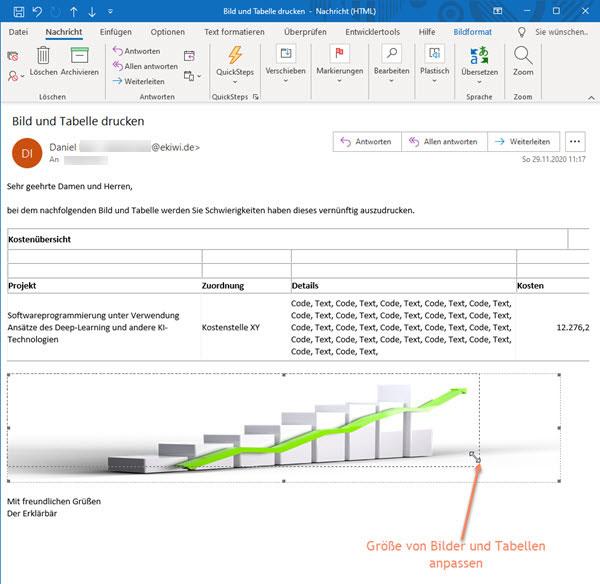 Screenshot geöffnete Nachricht im Outlook bearbeiten und Bilder und Tabellen in der Größe anpassen so dass diese zum Drucken auf eine Seite passen.